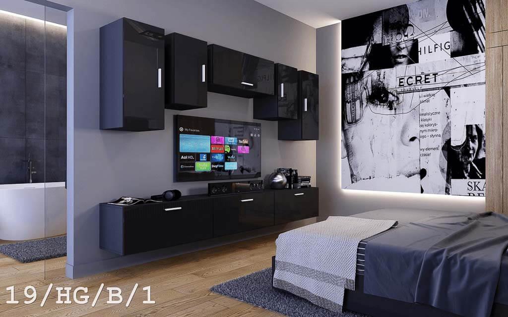 Möbel für Wohnzimmer schwarz Hochglanz – Future 19