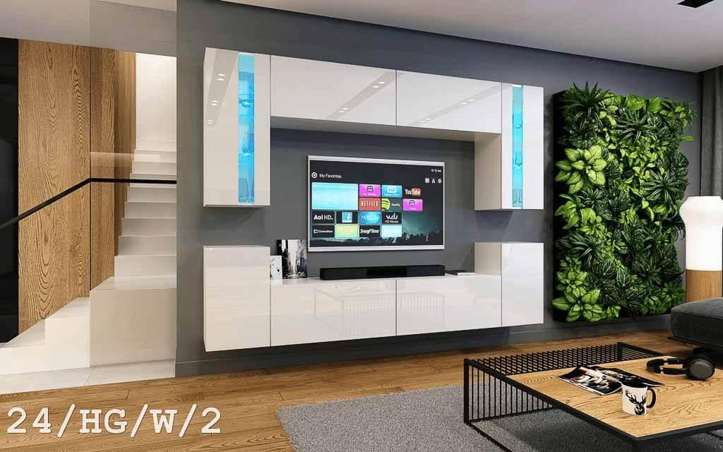 Möbel für Wohnzimmer weiß Hochglanz – Future 24