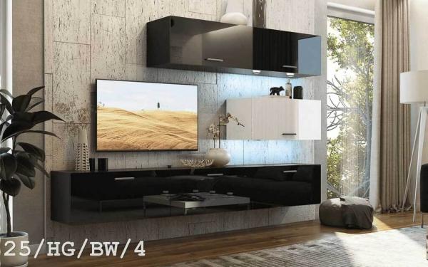 Möbel für Wohnzimmer schwarz und weiß glänzend – Future 25 - Prime Home Deutschland – Möbel für Haus und Büro | www.prime-home.de