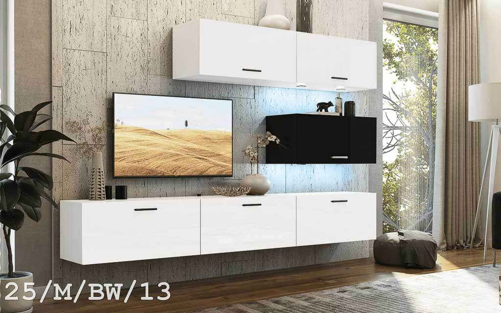 m bel f r wohnzimmer future 25 wei und schwarz matt. Black Bedroom Furniture Sets. Home Design Ideas