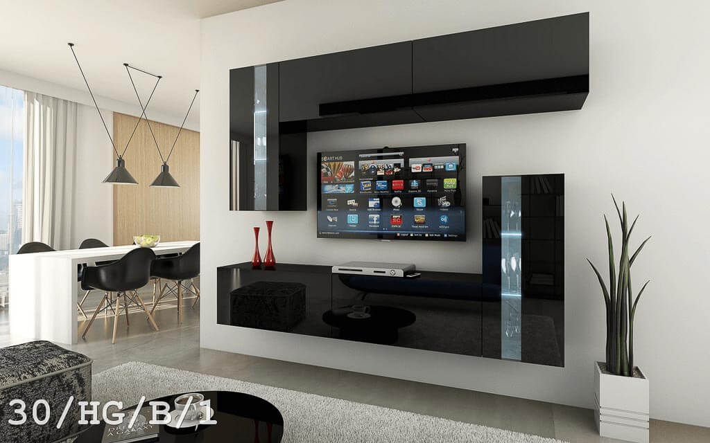 m bel f r wohnzimmer future 30 schwarz und gl nzend. Black Bedroom Furniture Sets. Home Design Ideas