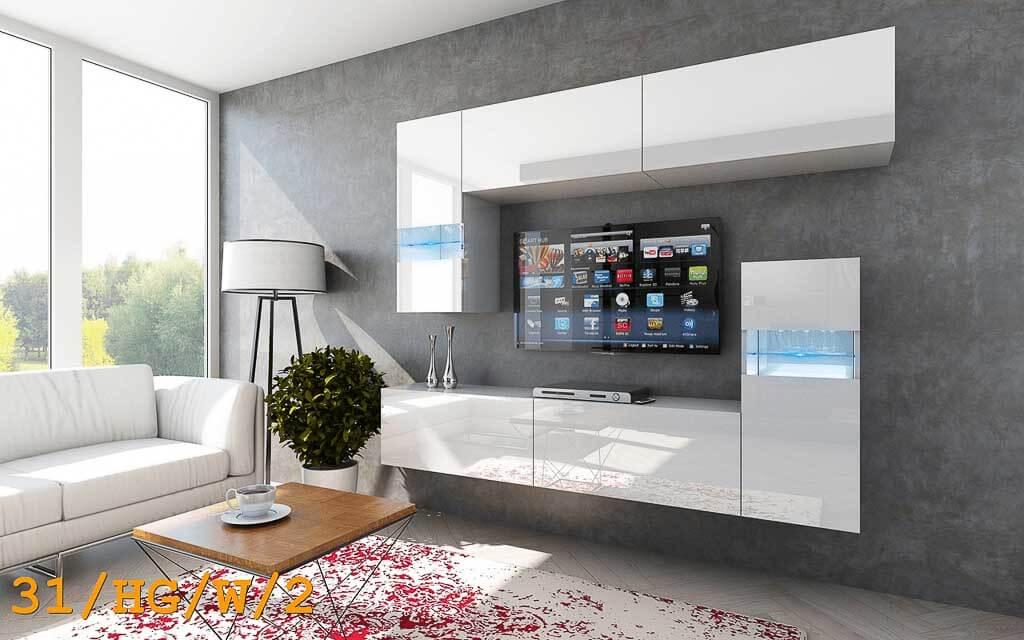 Möbel für Wohnzimmer weiß und glänzend – Future 31