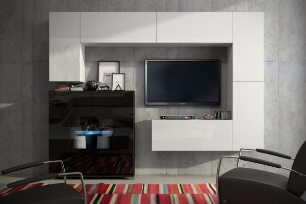 Möbel für Wohnzimmer weiß und schwarz glänzend – Future 8 | Prime Home Deutschland – Möbel für Haus und Büro | www.prime-home.de