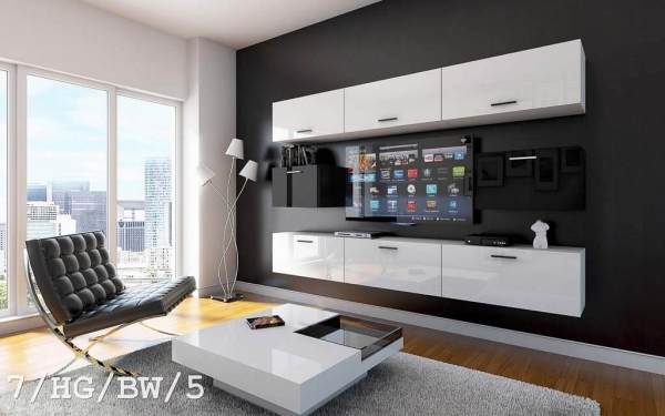 m bel f r wohnzimmer future 6 wei und gl nzend. Black Bedroom Furniture Sets. Home Design Ideas