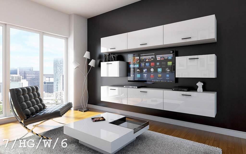 Möbel für Wohnzimmer weiß Hochglanz – Future 7