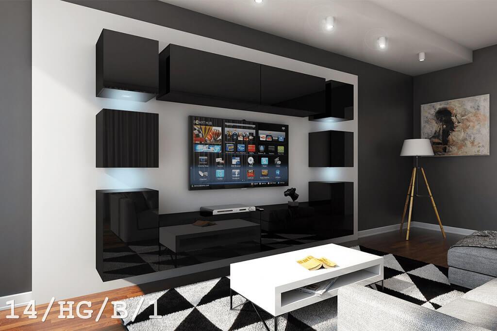 Schwarze Möbel für Wohnzimmer in Hochglanz – Future 14