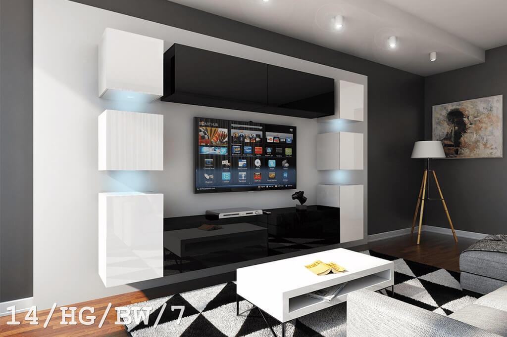 Schwarz-weiße Möbel für Wohnzimmer in Hochglanz – Future 14