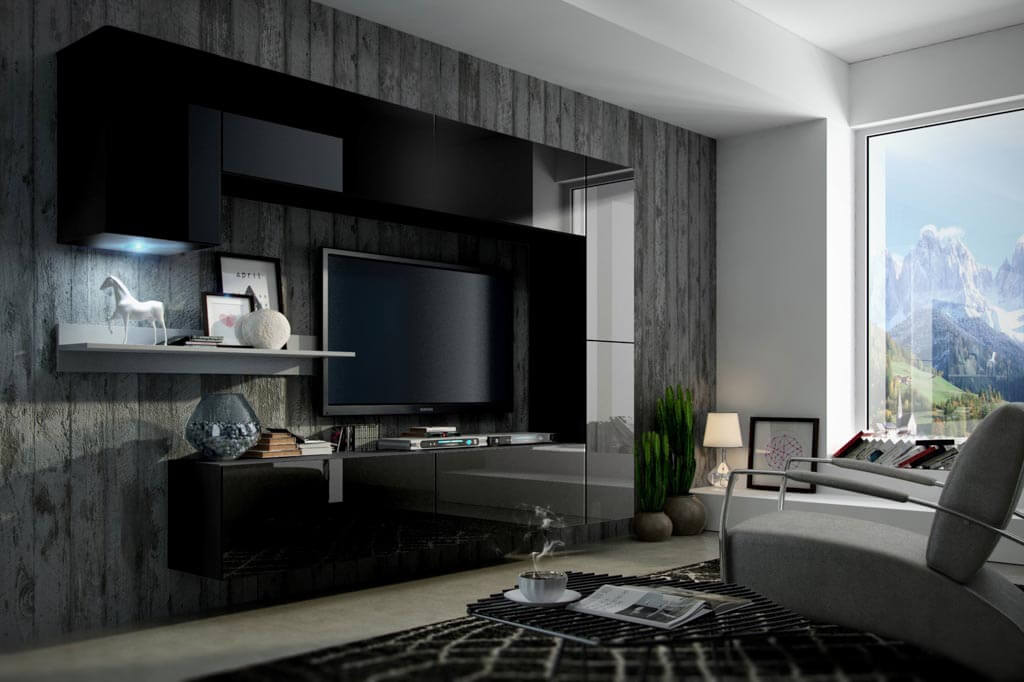 Möbel für Wohnzimmer schwarz und glänzend – Future 10