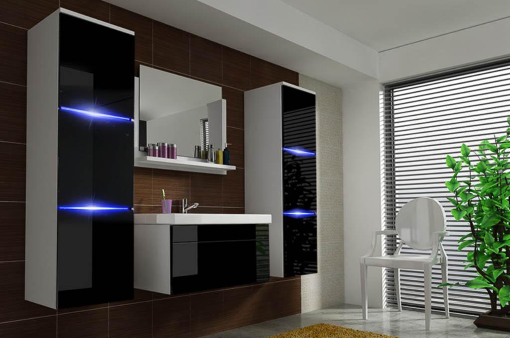 Möbel für Badezimmer NATHALIE - weiß und schwarz PRIME HOME DE