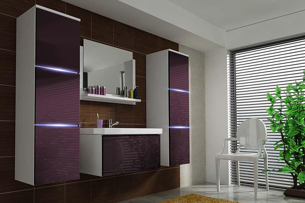 Möbel für Badezimmer NATHALIE - weiß und violett PRIME HOME DE