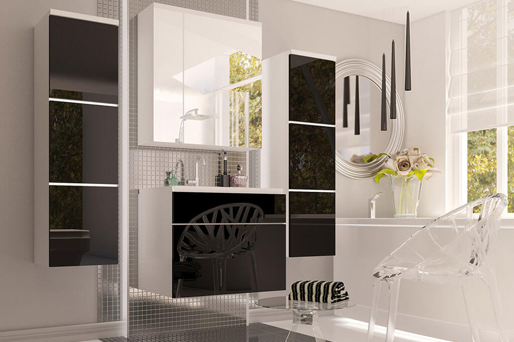m bel f r badezimmer berlin wei und schwarz gl nzend. Black Bedroom Furniture Sets. Home Design Ideas