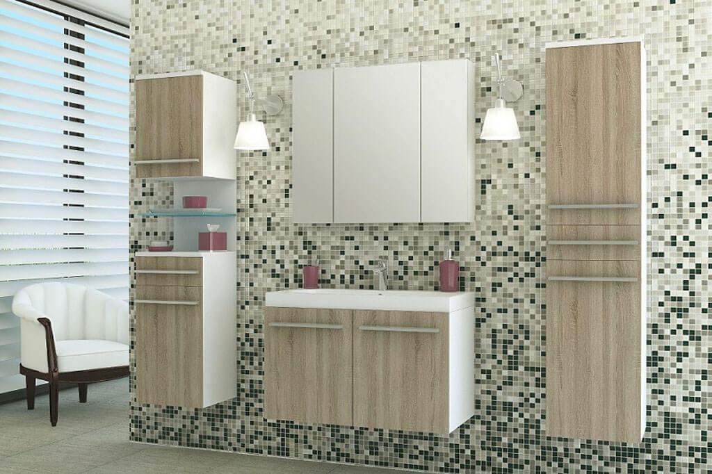 m bel f r badezimmer lena wei und sonoma eiche prime. Black Bedroom Furniture Sets. Home Design Ideas
