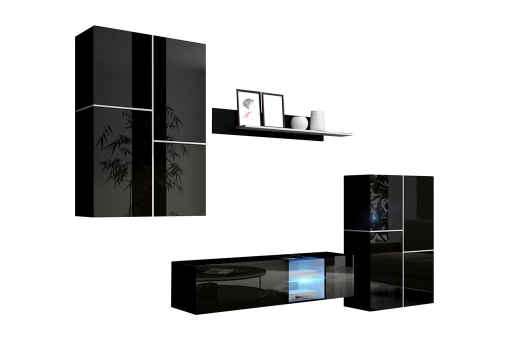 m bel f r wohnzimmer abby schwarz und gl nzend. Black Bedroom Furniture Sets. Home Design Ideas