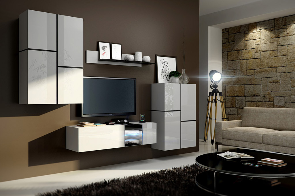 m bel f r wohnzimmer abby wei und gl nzend. Black Bedroom Furniture Sets. Home Design Ideas