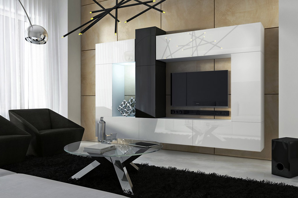 m bel f r wohnzimmer future 22 wei und schwarz www. Black Bedroom Furniture Sets. Home Design Ideas