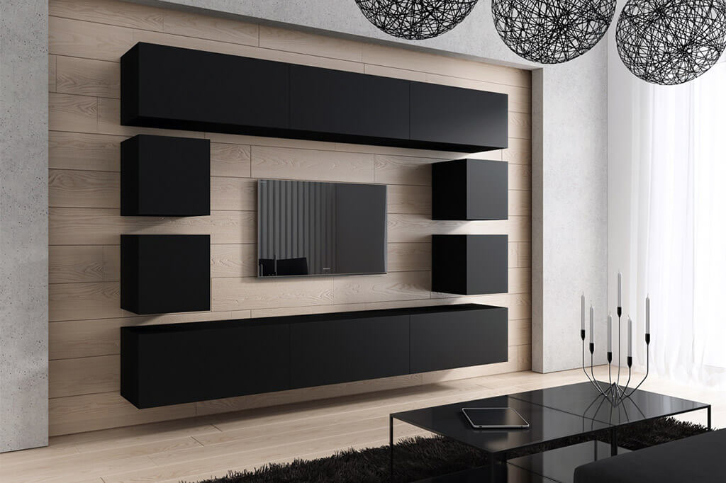 m bel f r wohnzimmer future 17 schwarz und matt prime home de. Black Bedroom Furniture Sets. Home Design Ideas