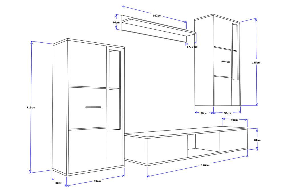 m bel f r wohnzimmer livia wei und schwarz gl nzend prime home. Black Bedroom Furniture Sets. Home Design Ideas