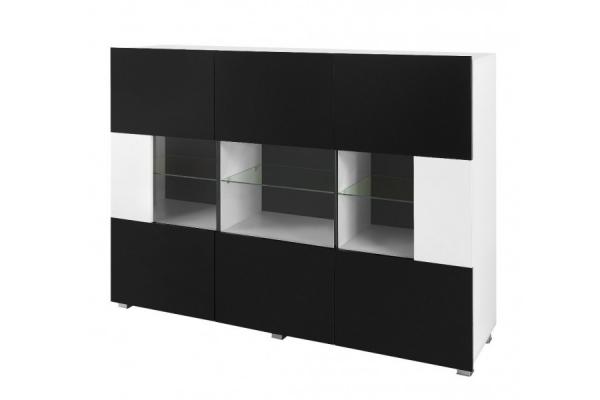 Weiß-schwarze Kommode mit Vitrine – KARL - Prime Home Deutschland – Möbel für Haus und Büro | www.prime-home.de