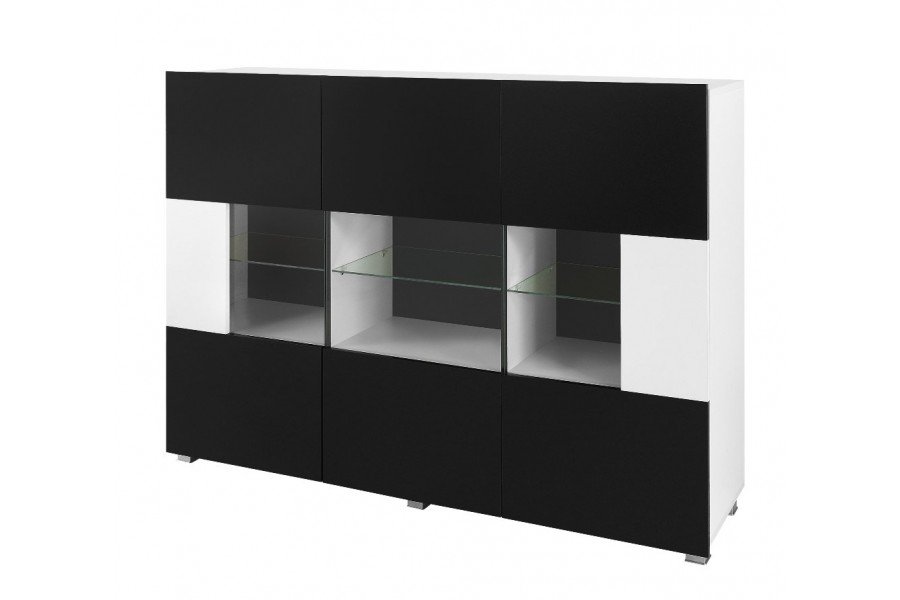 kommode mit vitrine karl wei und schwarz. Black Bedroom Furniture Sets. Home Design Ideas