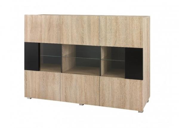 Kommode mit Vitrine schwarz und Sonoma Eiche – KARL 2 - Prime Home Deutschland – Möbel für Haus und Büro | www.prime-home.de
