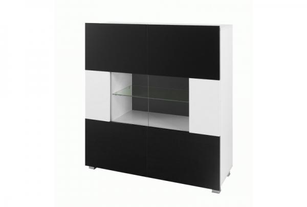 Schwarz-weiße Kommode mit Vitrine – Karl 2 - Prime Home Deutschland – Möbel für Haus und Büro | www.prime-home.de