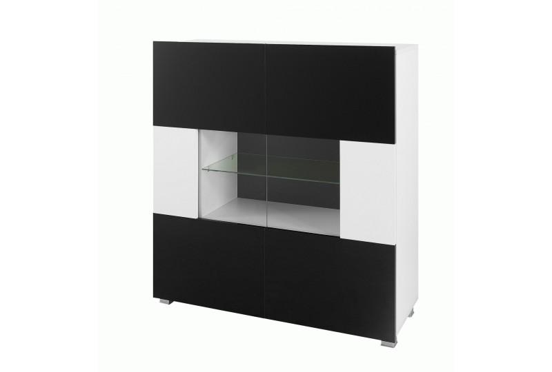 kommode mit vitrine karl 2 schwarz und wei. Black Bedroom Furniture Sets. Home Design Ideas