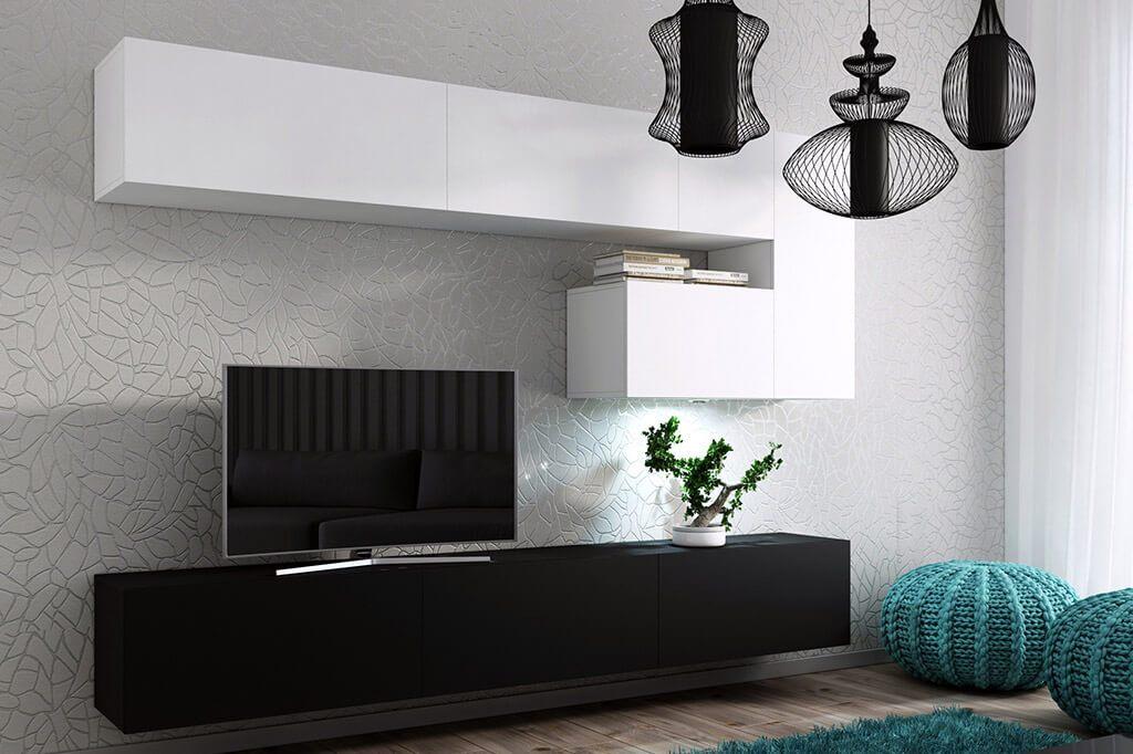 m bel f r wohnzimmer future 15 wei und schwarz matt. Black Bedroom Furniture Sets. Home Design Ideas