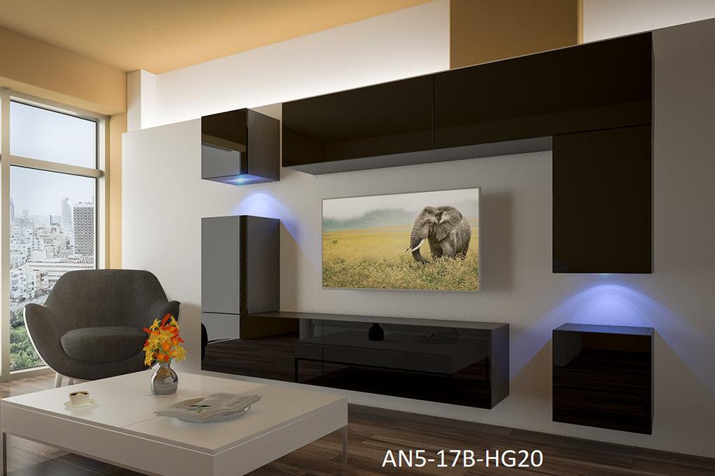 Möbel für Wohnzimmer Schwarz und glänzend – Prag NX 5