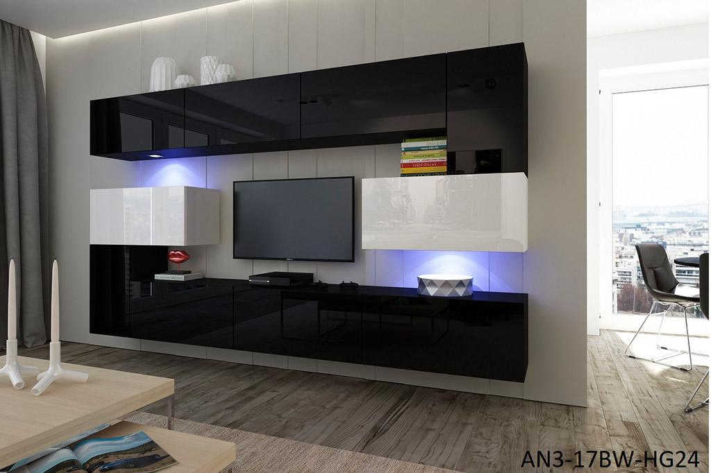 Möbel Für Wohnzimmer Schwarz Mit Weiß Glänzend U2013 Albania NX 3   Prime Home  Deutschland U2013