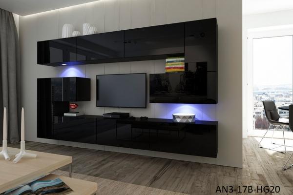 Möbel für Wohnzimmer Schwarz und glänzend – Albania NX 3 - Prime Home Deutschland – Möbel für Haus und Büro | www.prime-home.de