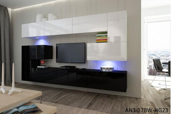 Möbel Für Wohnzimmer Schwarz Und Weiß Glänzend U2013 Albania NX 3   Prime Home  Deutschland U2013