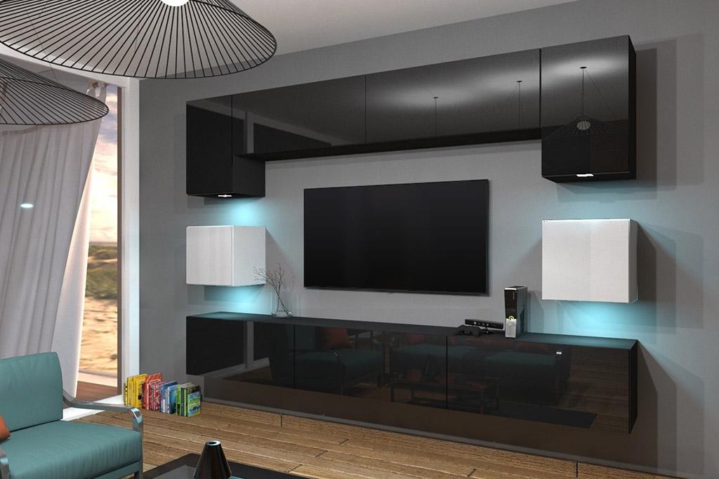 Möbel Für Wohnzimmer Schwarz/weiß Und Glänzend U2013 Nowara NX 1   Prime Home  Deutschland
