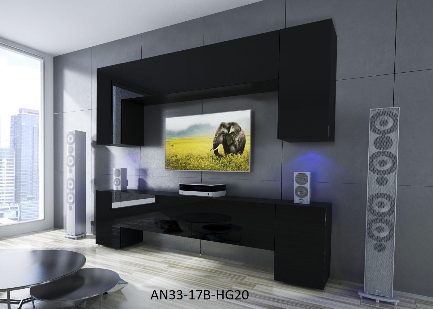Möbel für Wohnzimmer Schwarz und glänzend – Ekwador NX 33