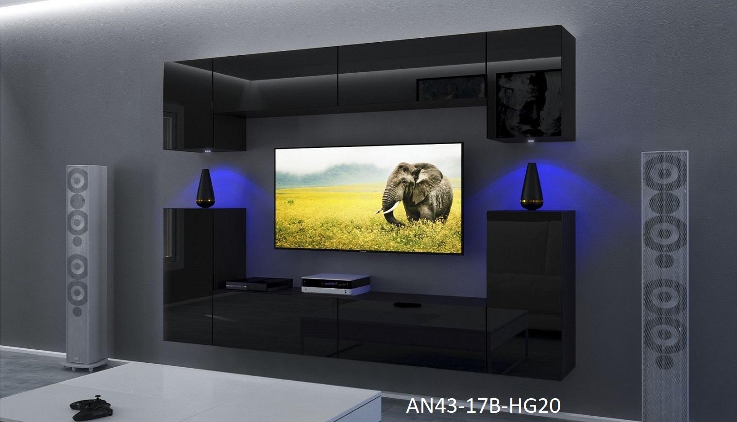 Möbel für Wohnzimmer Schwarz und glänzend – Rodos NX 43