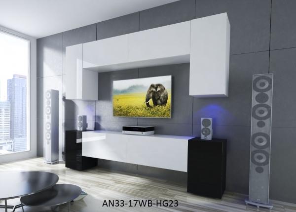 Möbel für Wohnzimmer Weiß / schwarz und glänzend – Ekwador NX 33 - Prime Home Deutschland – Möbel für Haus und Büro | www.prime-home.de