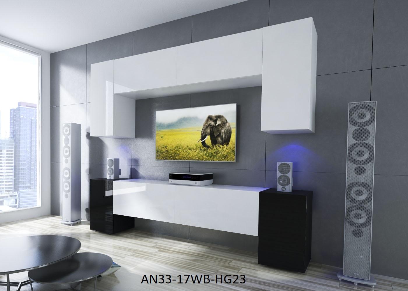 Möbel Für Wohnzimmer Weiß / Schwarz Und Glänzend U2013 Ekwador NX 33   Prime  Home Deutschland