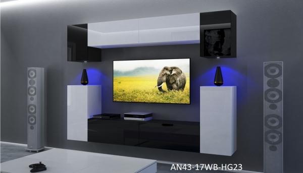 Möbel für Wohnzimmer Weiß / schwarz und glänzend – Rodos NX 43 - Prime Home Deutschland – Möbel für Haus und Büro | www.prime-home.de