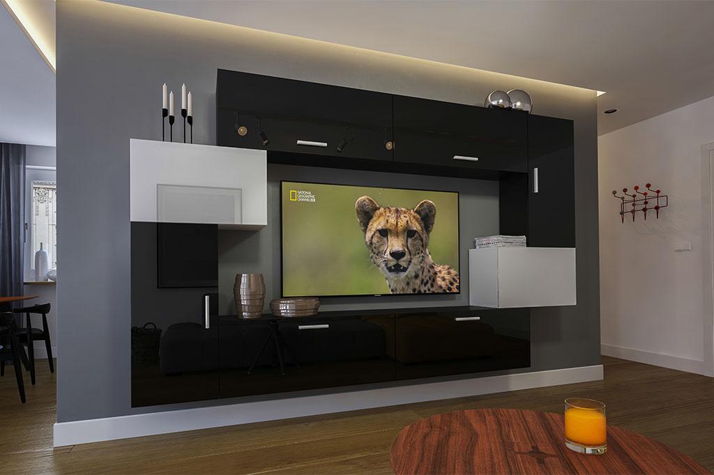 Möbel für Wohnzimmer Schwarz / weiß und glänzend – Orlean NX 6