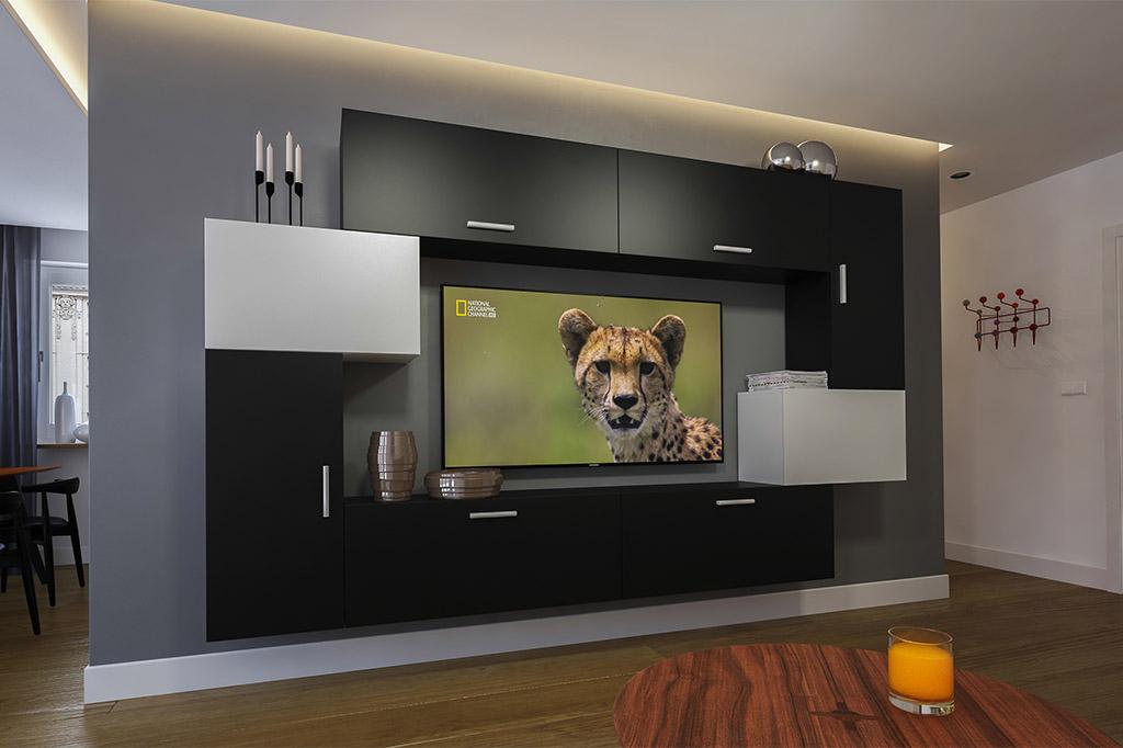 Möbel für Wohnzimmer Schwarz / weiß in Matt – Orlean NX 6