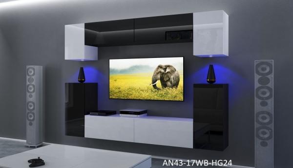 Möbel für Wohnzimmer Schwarz / weiß und glänzend – Rodos NX 43 - Prime Home Deutschland – Möbel für Haus und Büro | www.prime-home.de