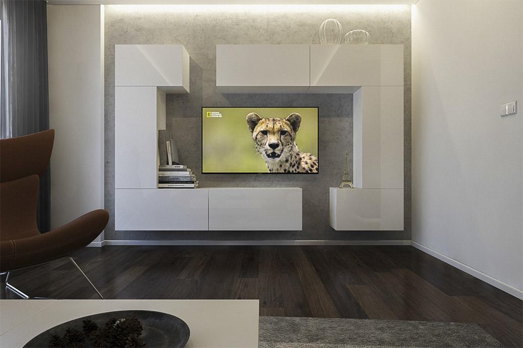 Möbel für Wohnzimmer Weiß und glänzend – Tokio NX 7