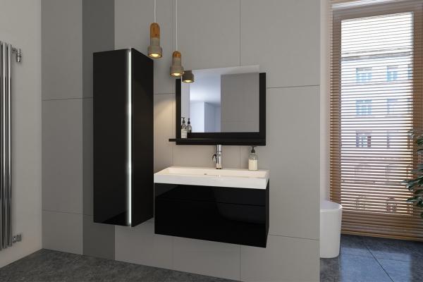 Schwarze Möbel für Badezimmer mit Waschbecken – Jenny 2 80 cm - Prime Home Deutschland – Möbel für Haus und Büro | www.prime-home.de