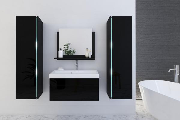 Schwarze Möbel für Badezimmer mit Waschbecken – Jenny 3 80 cm - Prime Home Deutschland – Möbel für Haus und Büro | www.prime-home.de