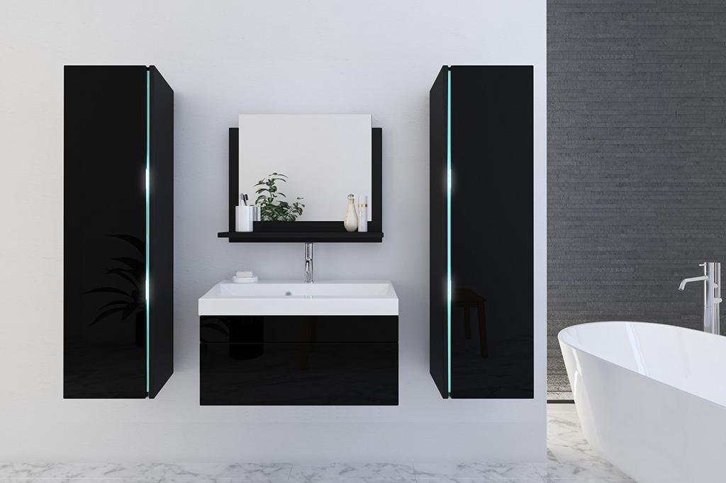 Schwarze Möbel Für Badezimmer Mit Waschbecken U2013 Jenny 3 80 Cm   Prime Home  Deutschland U2013