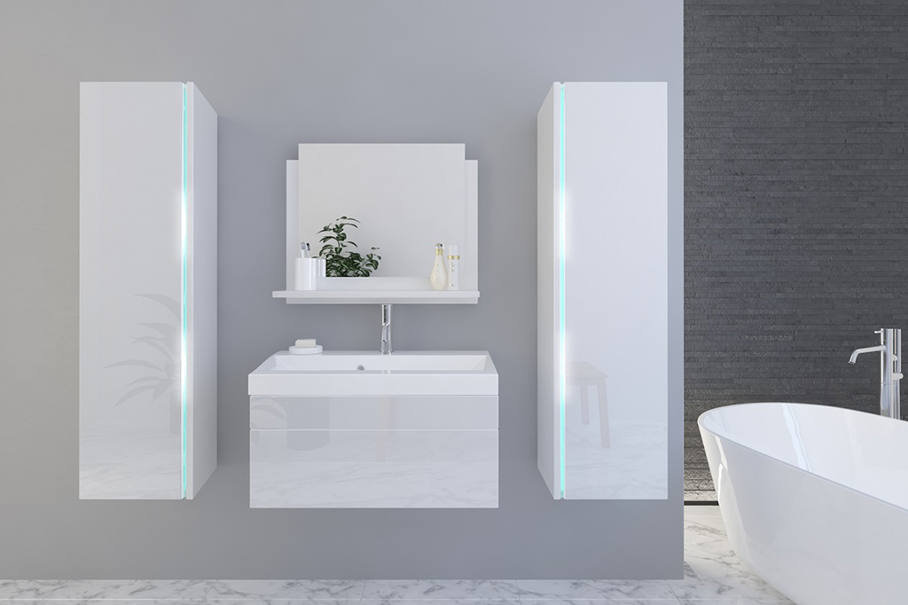 Weiße Möbel Für Badezimmer Mit Waschbecken U2013 Jenny 3 80 Cm   Prime Home  Deutschland U2013