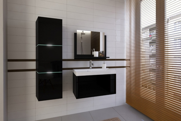 Schwarze Möbel für Badezimmer mit Waschbecken – LORENT 80 cm - Prime Home Deutschland – Möbel für Haus und Büro | www.prime-home.de