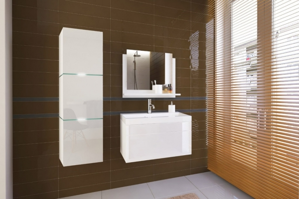 Weiße Möbel für Badezimmer mit Waschbecken – LORENT 80 cm - Prime Home Deutschland – Möbel für Haus und Büro | www.prime-home.de