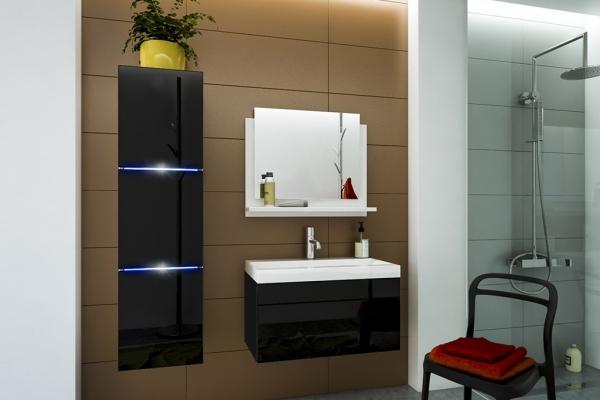 Schwarze Möbel für Badezimmer mit Waschbecken – AMANDA 80 cm - Prime Home Deutschland – Möbel für Haus und Büro | www.prime-home.de