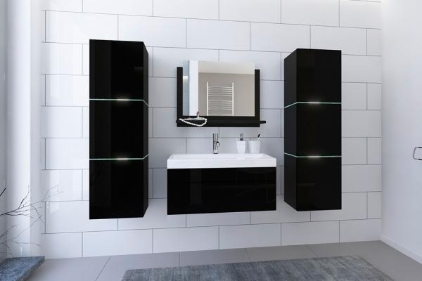 Schwarze Möbel für Badezimmer mit Waschbecken – Lorent 2 80 cm - Prime Home Deutschland – Möbel für Haus und Büro | www.prime-home.de