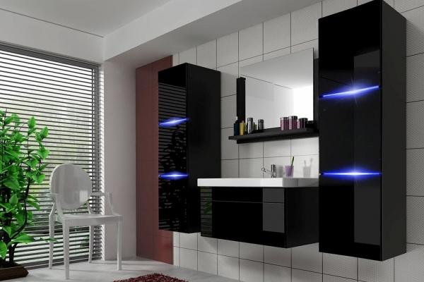 Schwarze Möbel für Badezimmer mit Waschbecken – Amanda 2 60 cm - Prime Home Deutschland – Möbel für Haus und Büro | www.prime-home.de